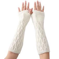 Winter Knitted Long Fingerless Gloves Womens Ladies Arm Sleeve Warm Soft Mitten
