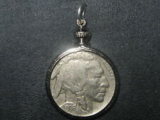 AUTHENTIC SOUTHWEST BEZEL SET 1930's BUFFALO NICKEL PENDANT COIN CHARM NECKLACE