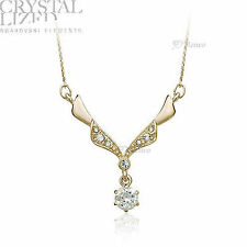 18K YELLOW GOLD PLATED GENUINE SWAROVSKI CRYSTAL NECKLACE SOLITAIRE