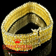 MEN'S WOMEN'S YELLOW GOLD FINISH CANARY LAB DIAMOND 3 ROW BRACELET 8 INCH TENNIS