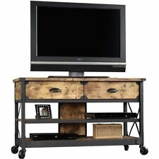 TV Stand Rustic Table Console Media Cabinet Pine Metal Living Room Wood Den