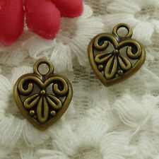 free ship 270 pieces bronze plated heart charms 15x13mm #3104