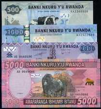 RWANDA 500+1000+2000+5000 FRANCS 2008/2014  P 35-36-37-38 SET 4 Notes  Unc