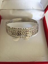 10K White Gold 7 pieces set of bangle bracelet - Small size 50 Mm (diameter)