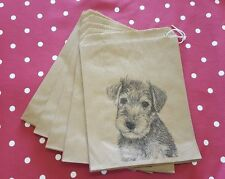 Puppy Dog Christmas Kraft Gift Bags - Vintage Style Set of 10 - Stocking Fillers