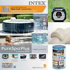 Intex Inflatable Pure Spa 4 Person Portable Heated Bubble Hot Tub Soft Massage