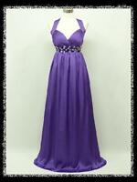 dress190 PURPLE CHIFFON HALTER LONG GLAMOUR MAXI PARTY PROM EVENING GOWN 8-24