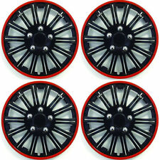 "14"" Inch Lightening Sports Wheel Cover Trim Set Black With Red Ring Rims (4Pcs)"