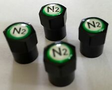 4  Black (Nitrogen) VALVE STEM CAPS - With - N2- inlayed on the top