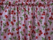 Retro Cherries on Pink Background Valance Curtain for Kitchen