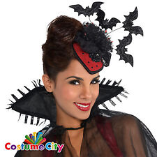 Womens Ladies Halloween Vampire Bats Clip On Hat Fancy Dress Costume Accessory