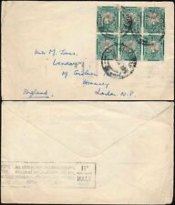 SOUTH AFRICA 1936 AIRMAIL...BOXED NOTE POSTAGE RATE...BLOCK 1/2d FRANKING