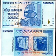 ZIMBABWE 100 TRILLION DOLLARS 2008 P 91 AA BANKNOTE CURRENCY UNCIRCULATE UNC
