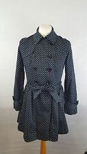 OASIS Women's Belted Trench Coat/Jacket Mac Size L - Black & Cream Polka Dot
