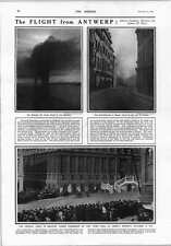 1914 Flight From Antwerp Germans Take Townhall Ghent Burning Oil Tanks
