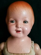 Antique Composition Marked Baby Doll Sleep Eyes Noise Maker Open Mouth Teeth