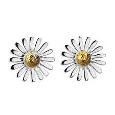 Pure Origins 925 Sterling Silver Sea Gems Large Daisy Flower Earrings Studs Gift