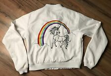 Steve & Barry's 80's White Unicorn Rainbow Jacket Size Junior Large