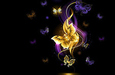 Framed Print - A Beautiful Sea of Gold & Purple Butterflies (Picture Poster Art)
