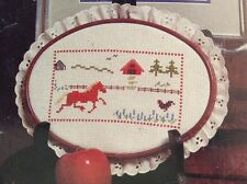 Country Charm counted cross stitch pattern leaflet, fabric & floss lot, set of 2