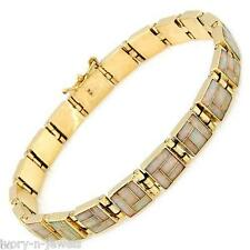 """Gorgeous Inlaid Created Opal Bracelet SOLID 14K Rose Gold 17 grams 7 5/8"""" Long"""