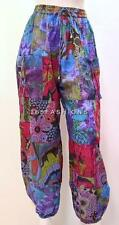 PLUS SIZE HIPPIE BOHO RETRO FLORAL PATCHWORK HAREM PANT TROUSER BLUE MIX 22 24