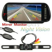 "12V Wireless Car Rear View Kit 7"" LCD Mirror Monitor +7 IR LEDs Reversing Camera"