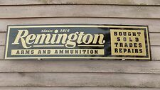 EARLY STYLE REMINGTON FIREARMS DEALER SIGN/AD 1'X4' ALUM. PANEL W/SCRIPT LOGO