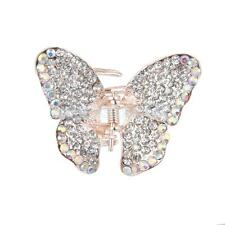 Small Diamante Butterfly Hair Claw Clip Grip Clamp Clear