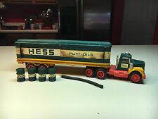 Old Vtg Toy 1970's Hess Toy Fuel Gasoline Oiles Truck W/ 3 Barrels and Hose