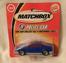 Matchbox 2004 Burger King Police Car #2 Blue Short Card NEW