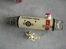 Vintage 1960s Plastic US Space Force Ship Model with Astronauts LOOK