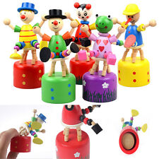 1X Pop Wooden Clown Puppet Finger Toy Lovely Educational Kids Toy Clown Barrel