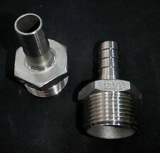 """HB100062 STAINLESS STEEL HOSE BARB 1"""" NPT PIPE - 5/8"""" HOSE"""