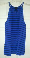 J Crew Silk keyhole womens top stripe $110 blue / black #84074 blouse shirt tank