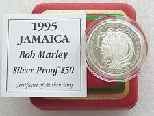 1995 Jamaica Bob Marley 50th Anniv $50 Fifty Dollar Silver Proof Coin Box Coa