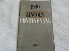 1980 Lincoln Continental Owners Manual 80