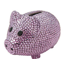 Purple Crystal Metal Coin Piggy Bank w/ Swarovski Crystals - Baby Gift Idea
