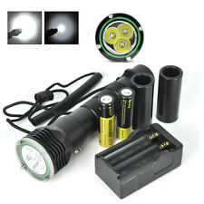 Underwater 100M 6000LM 3x XM-L2 LED Scuba Diving Flashlight Torch +18650+Charger