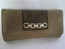 SALLY YOUNG LARGE TAUPE /CHAIN FASHION PURSE/WALLET/NOTES /TRAVEL ORGANISER