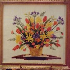 Colonial Bouquet counted cross stitch magazine pattern, fabric & floss lot