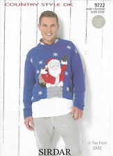 VAT Free Hand Knitting PATTERN ONLY Sirdar Father Christmas Santa Men Jumper New