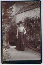CABINET CARD Photograph Victorian Lady in the Garden