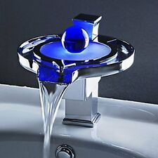 LED Sink Faucet,3 Colors Changing Bathroom / Kitchen Waterfall Faucet,Deck Mount