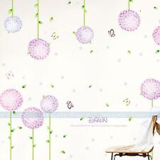 Purple Flower Ball Wall Sticker Removable Wallpaper Girl Baby's Room DIY Decor