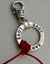 Silver Kabbalah RED STRING Open Circle of LOVE Charm Pendant keychain 1""