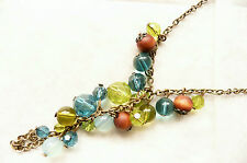 GOLD NECKLACE - OPAL, BLUE, GREEN AND LIGHT BROWN WOODEN BEADS - BRAND NEW