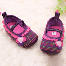 Purple Toddler Infant Baby Princess Girl Flower Shoes Crib Shoes Size 3-6 Months