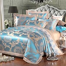 Luxury 4pc. Jacquard Queen Blue Embroidered Tribute Silk Duvet Cover Bedding Set