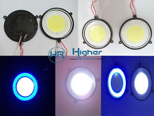 2x Dual Round Shape DRL LED COB light  White & Blue Ring for Car